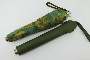 2 Vintage KNIRPS Folding Umbrella with Case Solid Green Floral