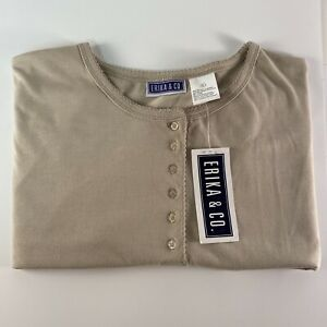 Erika CO. Tan Shortsleeve Top Blouse Large Pullover Button Beige Womans Casual