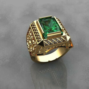 Fine Jewelry 18 Kt Real Solid Yellow Gold Green CZ Men'S Vintage Ring Size 9,10