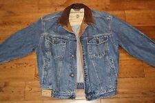 Rare Marlboro Denim Jacket Leather Collar Small