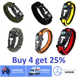 Flint Fire Starter 5in1 Survival Paracord Bracelet Whistle Compass Gear Tool Kit