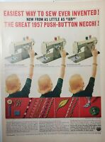 Lot of 3 Vintage Necchi Singer and Brother Sewing Machine Print Ads