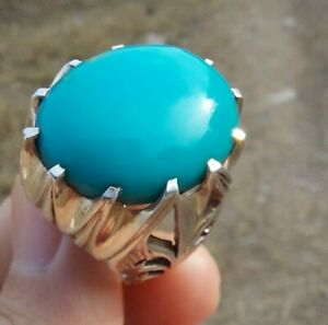 BIG Natural Turquoise Feroza handmade Sterling Silver Men Ring Tribal Jewelry