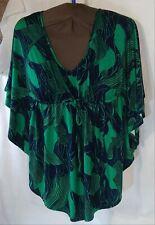 Liz Lange Maternity XS V-neck With Tie Dolman Sleeve Top kelly green black print