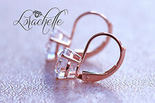 3.0 ct Brilliant Round Drop Dangle Leverback Earrings Real Solid 14k Rose Gold