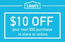 Three (3x) Lowes $10 Off $50 3COUPONS-Fast Delivery-InStore/Online