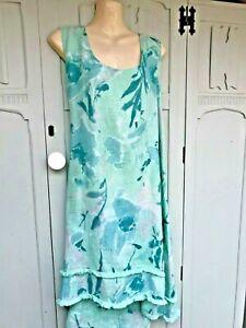 Eden Rock Italy lagenlook aqua floral linen dress - size 14-16