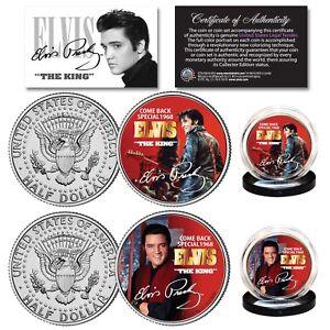 ELVIS PRESLEY 1968 Comeback Special Genuine JFK Kennedy Half Dollar 2-Coin Set
