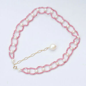 33+7cm Luxury lace design pink-red tourmaline necklace choker pearl Pendant 171