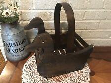 Vintage Wood Duck Basket Crate Planter