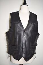 Interstate Leather Vest Leather Braiding Side Lacing Black Men's Size M