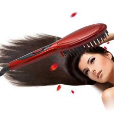 Electric Hair Straightener Comb Brush Fast Hair Massager Straightening Red EU