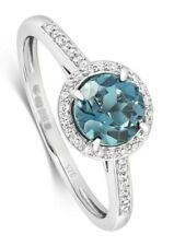 London Blue Topaz and Diamond Ring White Gold Appraisal Certificate