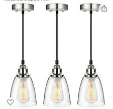 Industrial Mini Pendant Lighting Clear Glass Shade Hanging Light Fixture 3 Pack
