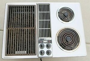 """Vintage Jenn Air Down Draft 28.5"""" Electric Cooktop w Swappable Grill -Stainless"""