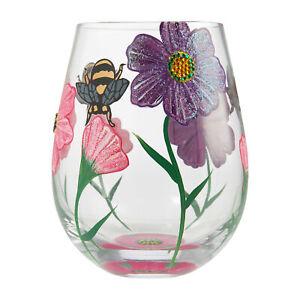 Enesco Designs by Lolita Drinking Garden Hand-Painted Stemless Wine Glass