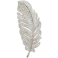 TRENDY CRYSTAL SILVER PLATED FEATHER BROOCH PIN MADE WITH SWAROVSKI ELEMENTS