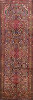 Excellent Vintage Hamedan Geometric Tribal Runner Rug Hand-knotted 3'x10' Carpet