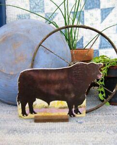 Antique Schoolhouse Cardboard Farm Animal Aberdeen Angus Bull
