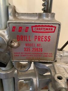 Vintage Craftsman Drill Press Model No. 335.25926