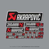Akrapovic Exhausts Decals Stickers Set Of 21 - Black/White - SKU2416