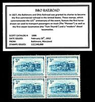 1952 - B&O RAILROAD -  Block of Four Vintage U.S. Postage Stamps