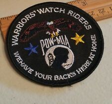 """Warriors Watch Riders Bikers Veterans & USA Supporters 3"""" Motorcycle PATCH"""