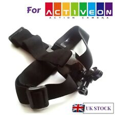 Head Helmet Strap Harness Mount for Activeon Solar XG CX CX Gold Action Cameras