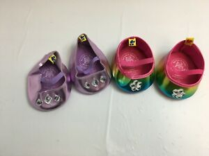 LOT OF 2 PAIRS OF BUILD A BEAR WORKSHOP SHOES RAINBOW & LAVENDER WITH GEMS