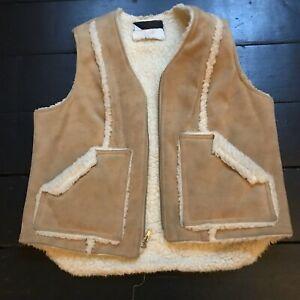 vintage 70's faux sheepskin camel gilet body warmer waistcoat