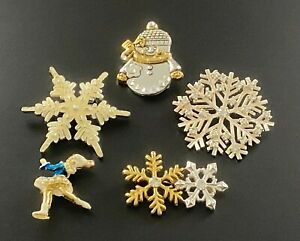 Winter Snowy Brooch Lot of 5 Brooches Snow Flakes Ice Skater and Snowman #244
