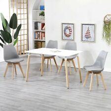 Mesa de Comedor Rectangular y 4 Silla Juego de Comedor de Cocina de Estilo Retro
