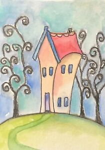 Artist Trading Cards Whimsy House  Miniature Art Original Painting By Kenna