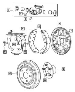 Genuine MOPAR Rear Drum Brake Backing Plate Rear Left 5191297AA