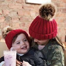 Pom Pom Knit Beanie Hat chicas chicos para Mujer Hombre a juego de piel sintética pom Bobble