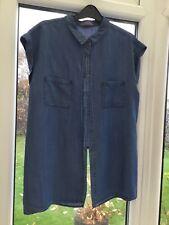 Oasis Denim Blu Senza Maniche Camicia/blusa taglia 14