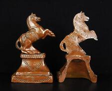Serres-livre cheval de créateur en terre-cuite signés Horses bookends 1929