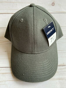 NWT Gray Solid Blank Plain Baseball Fitted Cap Hat sz 7 1/8 Decky