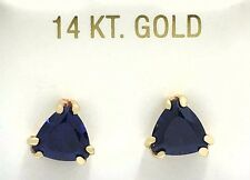 TANZANITE 3.85 carats TRILLIONS 14k Yellow Gold EARRINGS *Free Shipping Service