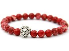 Handgefertigtes Löwen Armband mit roten Sea Sediment Perlen Lion Buddha Fashion