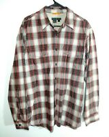 Royal Robbins Men's L Plaid Red and Gray Casual Button Up Shirt