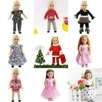 Handmade Girl Doll Party Dress Skirt Pants T-shirt Doll For 18inch Clothes R3E5