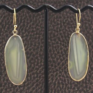 Stylish Real Lemon Agate Slice Yellow Gold Plated DIY Earrings Jewelry Supplies