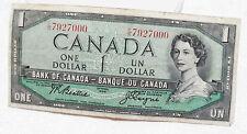 Canadian Canada $1 Paper Money Bill Ottawa 1954 Bank of Canada Circulated