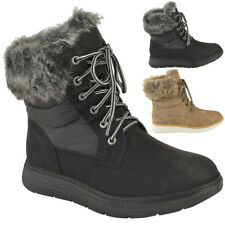 Womens Ladies Flat Ankle Boots Winter Faux Fur Fluffy Lined Grip Sole Shoes Size