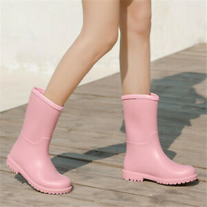 Womens Waterproof Rain Boots Mid-Calf Shoes Galoshes Non-Slip Wellies Lady New