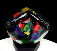 "MURANO ART GLASS TROPICAL FISH CORAL MULTI-COLOR HEAVY 4 1/2"" PAPERWEIGHT"