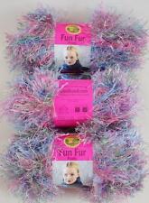 Lion Brand FUN FUR Yarn TROPICAL Blue Purple Pink #208 EYELASH YARN, 3 Lot, NEW