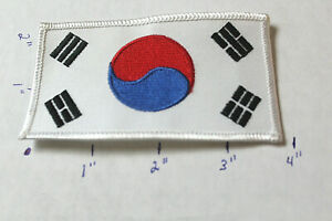 NEW KOREA FLAG WHITE BORDER STITCHED UNIFORM PATCH Martial Arts MMA Dragon VAR1