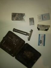 Vintage Gillette Shaving kit with blades ornate case maybe silver1900s